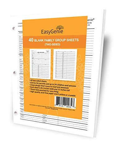 Blank Two-Sided Family Group Sheets for Genealogy (40) ()