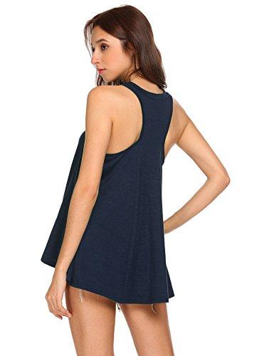 Pinspark Women's Summer Sleeveless Shirt Loose Fit Racerback Tunic Tank Tops Navy Blue Medium by Pinspark (Image #2)
