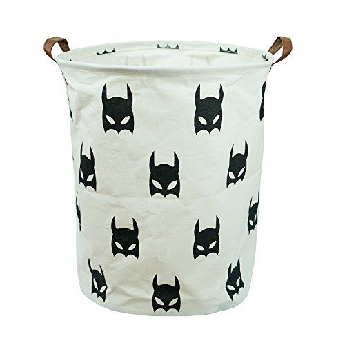Dirty Clothes Laundry Storage Basket for Bedroom Bathroom Kids Linen Cotton White and Batman 15.7