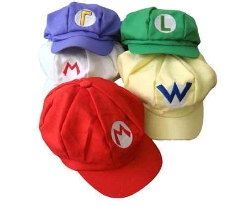 Togetherwe 5pcs Super Mario Bros Hat Mario Luigi Cap Cosplay Red Green Purple Yellow White ()