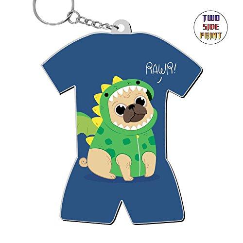 Cool Keychain Cute Pug Dragon Costume Keyring World Cup Polo Shirt Logo Key Ring Key Fob Alloy Nice Gift ()