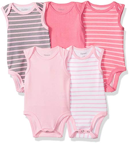 Hanes Ultimate Baby Flexy 5 Pack Sleeveless Bodysuits (Tanks), Pink Stripe, 12-18 Months