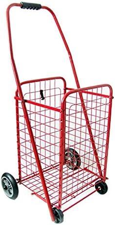 ZR Luxuriöser praktischer Wagen, Einkaufswagen auf Rädern, tragbarer Multifunktionswagen, Faltbarer Einkaufskorb für Lebensmittel, groß, schwarz (Farbe : Rot)