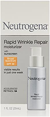 Neutrogena Rapid Wrinkle Repair Daily Hyaluronic Acid Retinol Face Moisturizer, Anti Wrinkle Face Cream & Neck Cream with SPF 30 Sunscreen - Hyaluronic Acid, Retinol & Glycerin with SPF 30, 1 fl. oz