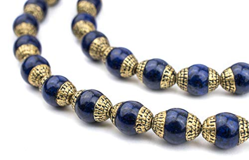 TheBeadChest Capped Lapis with Brass Gemstone Beads, Full Strand of Round Nepalese Stone Beads, Great for DIY Jewelry Necklace & Bracelet Making