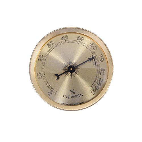 Analog hygrometer, round cigar hygrometer with +/- 1% accuracy for indoor and outdoor (Gold)