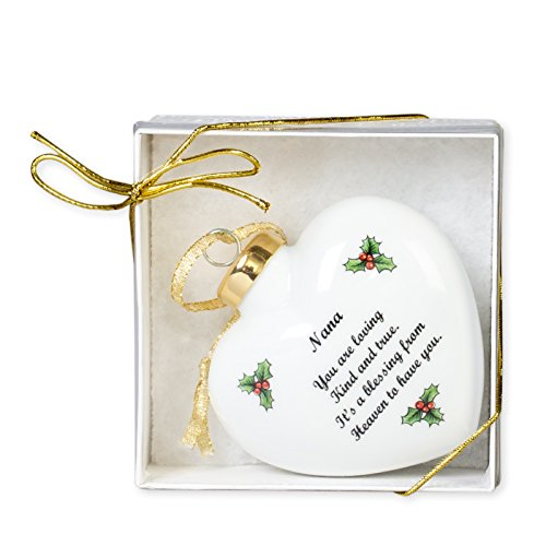 Nana It's a Blessing From Heaven Puffy Heart Porcelain Christmas Ornament (Porcelain Heavens Blessings)