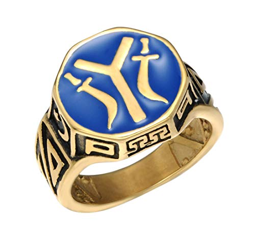 Mans Kayi Ertugrul Letter Y Stainless Steel Ring,Gold,Size 12