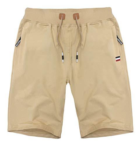 MO GOOD Mens Casual Shorts Workout Fashion Comfy Shorts Summer Breathable Loose Shorts (Khaki, US (27-29)) ()