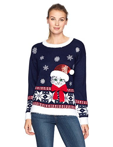 Blizzard Bay Women's L/s Crew Neck Christmas Cat, Midnight Blue, L