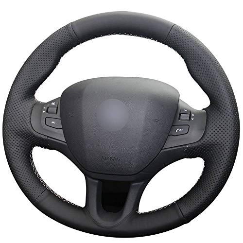 KAIDDRGFH Black Natural leather car steering wheel cover for Peugeot 208 Peugeot 2008: