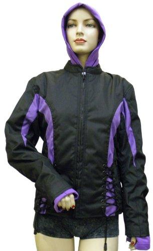 Ladies Textile Crystal Jacket Black & Purple + - Jacket Womens Biker Textile