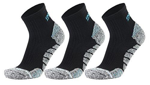 COOLMAX Unisex Athletic Quarter Socks Men&Women Running Hiking Cushioned Sock Pack for 3 Pairs (L, (Coolmax Sport Sock)