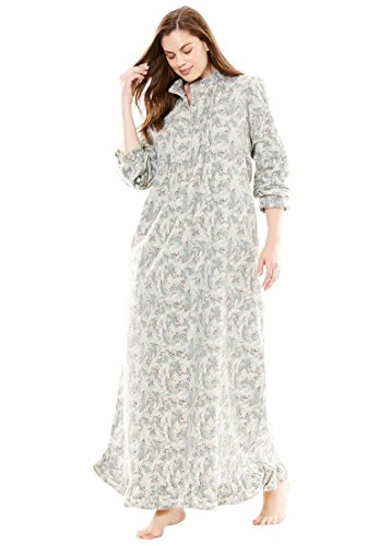 Long Flannel Nightgown (Only Necessities Women's Plus Size Cotton Flannel Print Gown Pearl Grey,1X)