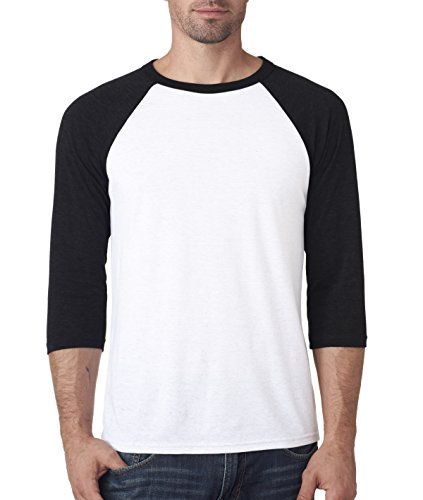 Bella 3200 Unisex 3 By 4 Sleeve Baseball Tee - White & Black, Large