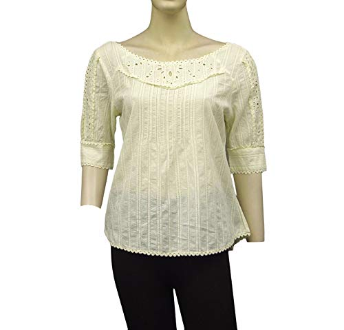 - Kimchi Blue Urban Outfitters Embroidered Lace Cutout Beige Cotton Top