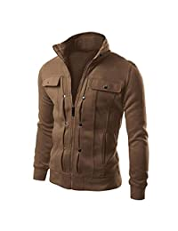 Muranba Clearance Fashion Mens Slim Lapel Front-Zip Coat Jacket
