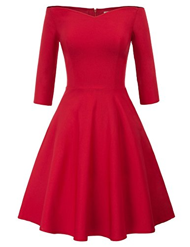 Solid Color Formal Wedding Party Dress A-line Size L Red CL823-2