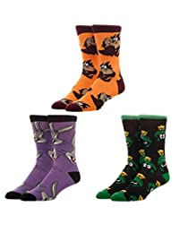 Looney Tunes Licensed Adult Crew Socks (Various Designs) (Looney 3-Pack)