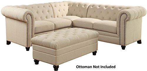 Coaster 500222-CO Roy Button Tufted Sectional, In Oatmeal (Chesterfield Sectional Sofa)