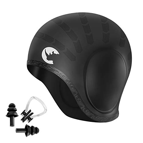 aterproof Silicone Bathing Swimming Cap - Swim Hat for Long Short Hair Women Men with Nose Clips, Earplugs & Ear Pockets ()