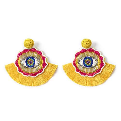 Bohemian Dangle Earrings Beaded - Colorful Handmade Eye Oversized Drop Earrings with Boho Statement Fan Tassel for Women (Yellow)
