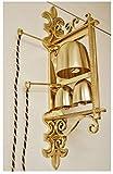 Triple Sanctus Wall Bell - Double Cord - Sanctus Bell - Church Bells - Sacristy Bells - Chalice (CCG-365)