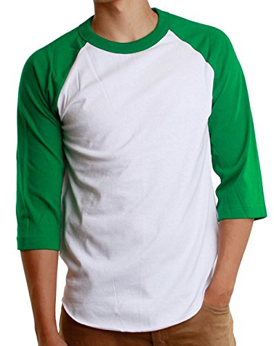 White Baseball T-shirt (Mens 3/4 Raglan Sleeve Athletic Shirts Casual Tees for Men Baseball T-Shirt, (Large, White/Green))