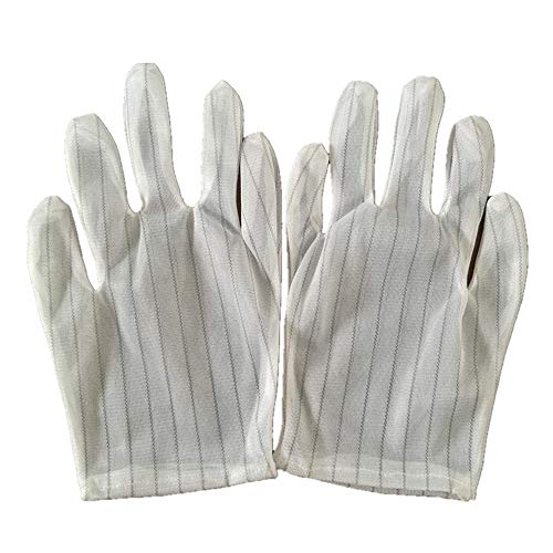 Anti Static Gloves- White Stripe Anti-Slip Clean and Sulphur Free Gloves High Resistance Carbon Fiber Protects Your Computer Safe for Work and Handling