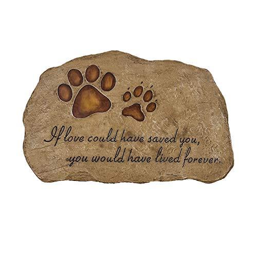 HMGYGS Dog Memorial Stone Paw Print Pet Passing Gift Dog Grave Marker Garden Stone (Short Shape 11