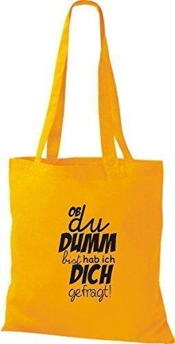 ShirtInStyle Bolso de tela Bolsa de algodón Tipo ya du DUMM estas lo tengo ich - fucsia, 38 cm x 42 cm amarillo dorado