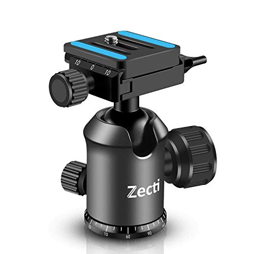 (Zecti Professional Metal 360 Degree Rotating Panoramic Tripod Ball Head with Quick Shoe Plate and Bubble Level,up to 20pounds/9kg,for All Tripod,Monopod,Slider,DSLR Camera,Camcorder )