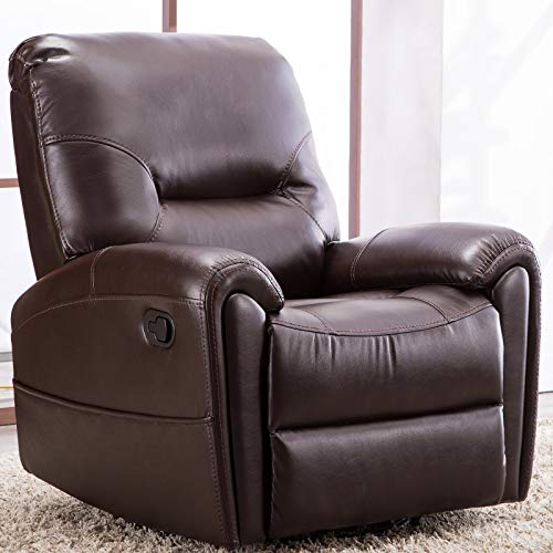 CANMOV Manual Leather Recliner Chair, Single Seat Sofa Home Theater Seating Chair with Storage Bag Overstuffed Arms and Back, Brown