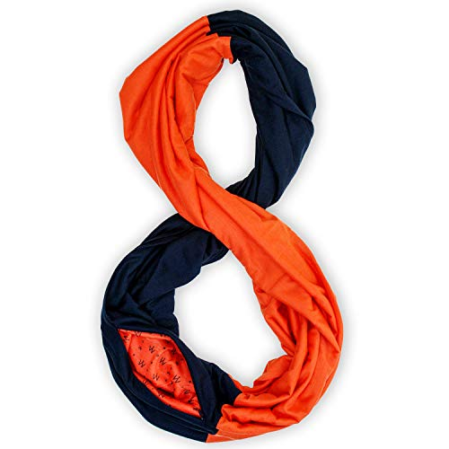 Stadium Series Scarf by WAYPOINT GOODS // Infinity Scarf w/Secret Hidden Zipper Pocket (Blue & Orange)