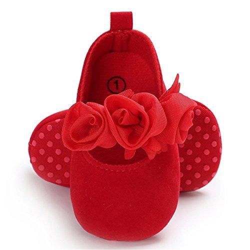 - BENHERO Baby Infant Girls Soft Sole Floral Princess Mary Jane Shoes Prewalker Wedding Dress Shoes (6-12 Months M US Infant), Red
