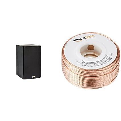 Polk Audio T15 Bookshelf Speaker Black And AmazonBasics 16 Gauge Wire