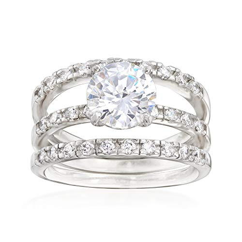 Ross-Simons 2.40 ct. t.w. CZ Bridal Set: Engagement and Two Wedding Rings in Sterling -