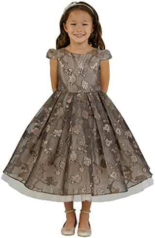 ac07349e2 Kid's Dream Big Girls Chocolate Rose Organza Jacquard Tulle Christmas Dress  8-14