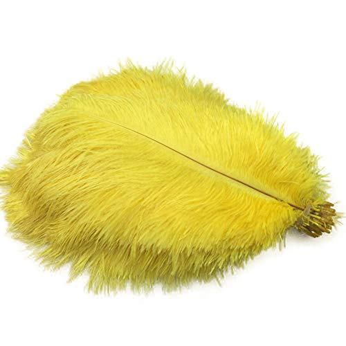 Sowder 50pcs Natural 8-10inch(20-25cm) Ostrich Feathers Home Wedding Decoration(yellow)