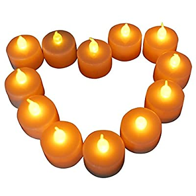 DC Set of 12 Smokeles Flameless Tea Lights Amber Yellow Flickering LED Battery Tealight Candles for Wedding, Party, Christmas, Club Decor.