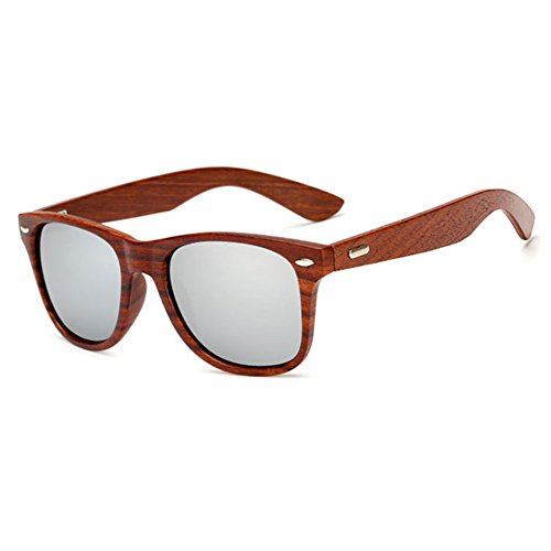 LongKeeper Wood Sunglasses for Men Women Vintage Real Wooden Arms Glasses (Brown, Silver)