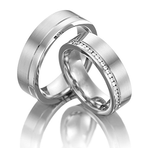 18k White Gold Polished Satin Flat His And Hers Wedding Rings 041 Ctw Round Diamond 6mm