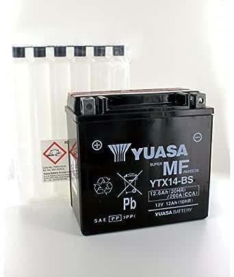 Yuasa YTX14H-BS WC Bater/ía de Alto Rendimiento sin Mantenimiento