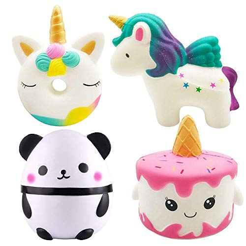 EMallee Slow Rising Jumbo Squishy 4 Pack Kawaii Panda and Narwhale Cake,Unicorn Donut,Unicorn Cream Scented Kids Toys Doll Fun Collection Stress Relief Toy (Panda+Unicorn Set) ()