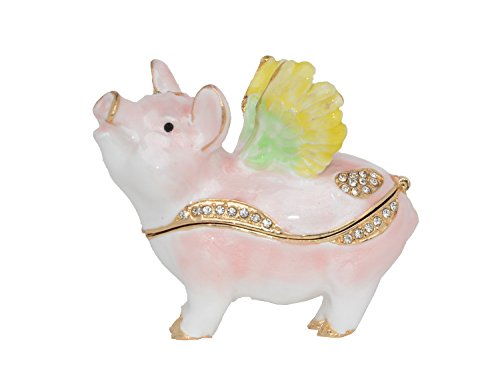 Trinket Box Enameled Animal Figurine Collectable Jewelry Ring Holder Organizer Pig (Fly ()