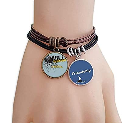 Graffiti Street Yellow Blue Leopard Pattern Friendship Bracelet Leather Rope Wristband Couple Set Estimated Price -