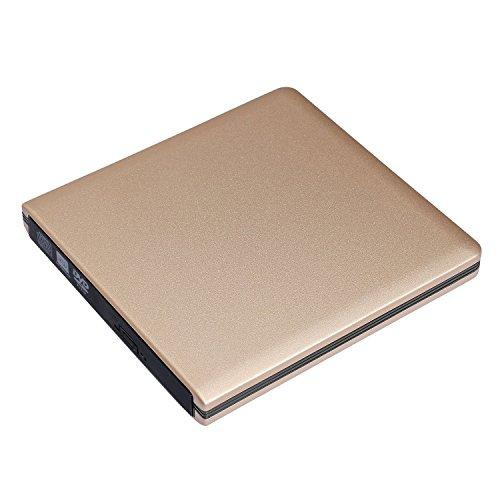iStrong External USB 3.0 Portable DVD CD Drive Burner Ultra Slim Optical Drive CD - RW DVD - RW Superdrive for Apple Mac Macbook Pro Laptop Notebook Desktop Golden by iStrong