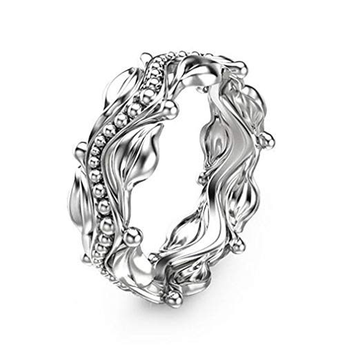 Filigree Wide Floral - Meoliny Antiqued Floral Leaves Ring High Polish Filigree Statement Band Rings Wedding Engagement Band for Women,Size 7