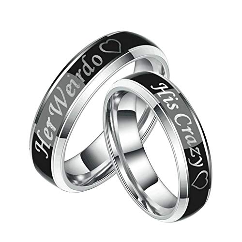 Aooaz Duck Band Wedding Rings for Men Ring Stainless Steel Women Engraved Heart Her Weirdo and His Crazy Engagement Rings Couples Set Women 7 & Men 12 -