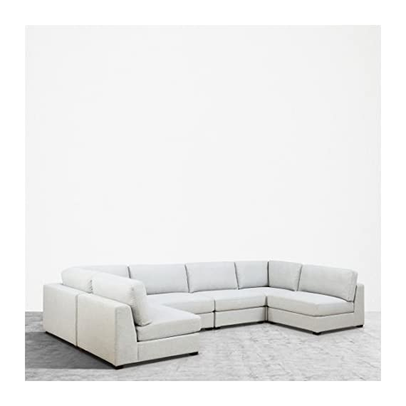 UrbanFurnishing.net Reed 6-Piece Modular Customizable and Reconfigurable Deep Seating Sofa Sectional - Sophisticated modern low-profile design with plush casual comfort. Inspired by DWR's Reid Collection, but with thousands in savings! Oversized modules, extra wide and extra deep providing generous space to move around Upholstered with a designer Light Gray Modern Felt fabric. Multi-layer premium foam for long lasting comfort and anti-sag design contruction - sofas-couches, living-room-furniture, living-room - 41PHnL3ZU%2BL. SS570  -